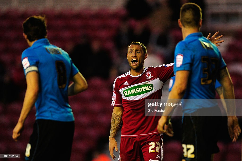 Middlesbrough forward Scott McDonald reacts during the npower Championship match between Middlesbrough and Nottingham Forest at Riverside Stadium on...