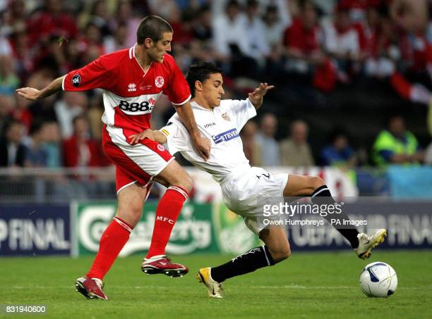 Middlesbrough Franck Queudrue tussles for the ball with Sevilla's Jesus Navas during the UEFA Cup Final at PSV Stadion Eindhoven Netherlands