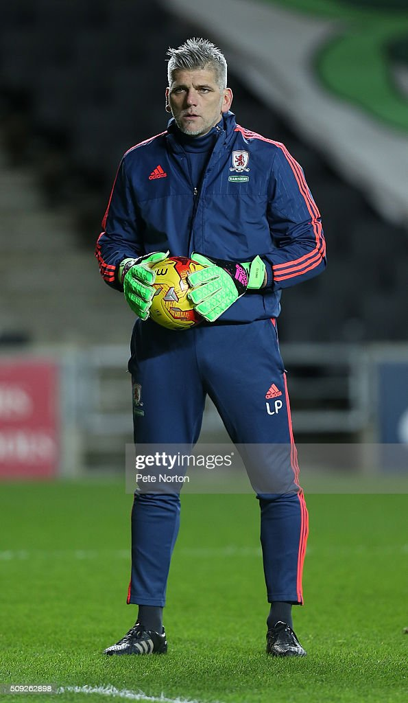 Middlesbrough goalkeeper coach Leo Percovich in action during the pre match warm up prior to the Sky Bet Championship match between Milton Keynes Dons and Middlesbrough at StadiumMK on February 9, 2016 in Milton Keynes, England.