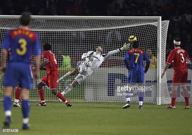Middlesbrough goalkeeper Mark Schwarzer is beaten for the first Steaua goal during the UEFA Cup semi final first leg between Steaua Bucharest and...