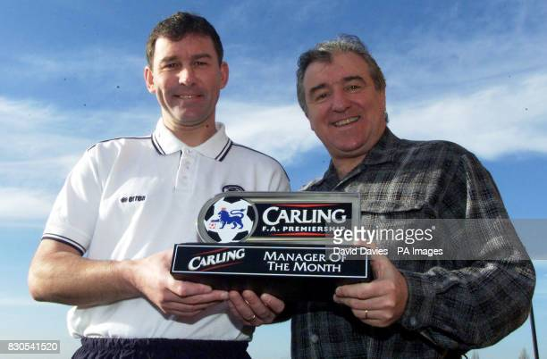 Middlesbrough head coach Terry Venables and club manager Bryan Robson receive the Carling Manager of the Month award for January after sparking a...