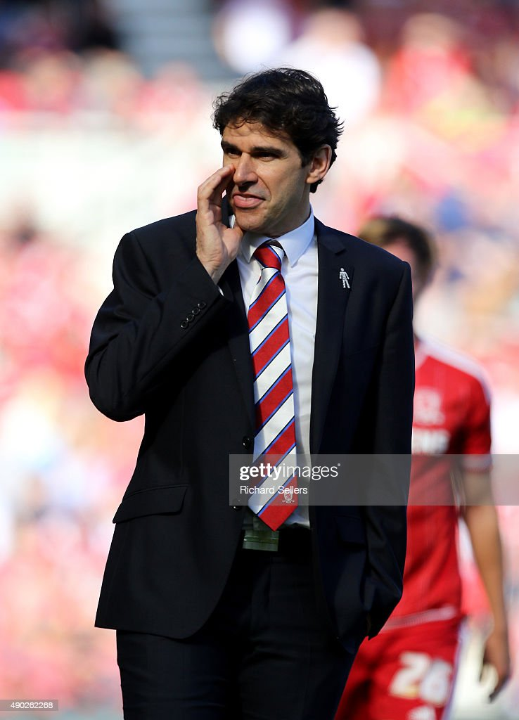 Middlesbrough manager Aitor Karanka during the Sky Bet Championship match between Middlesbrough and Leeds United at the Riverside on September 27, 2015 in Middlesbrough, England.