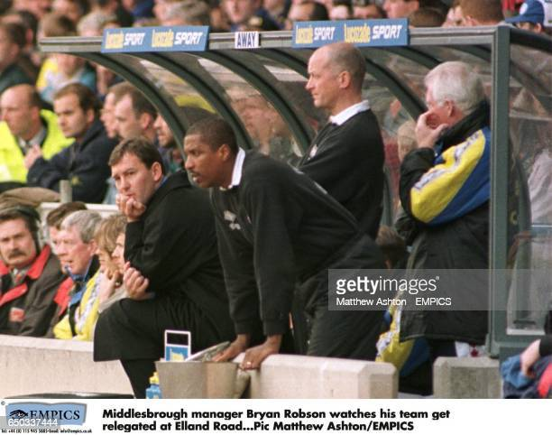 Middlesbrough manager Bryan Robson and his assistant Viv Anderson watches his team get relegated at Elland Road