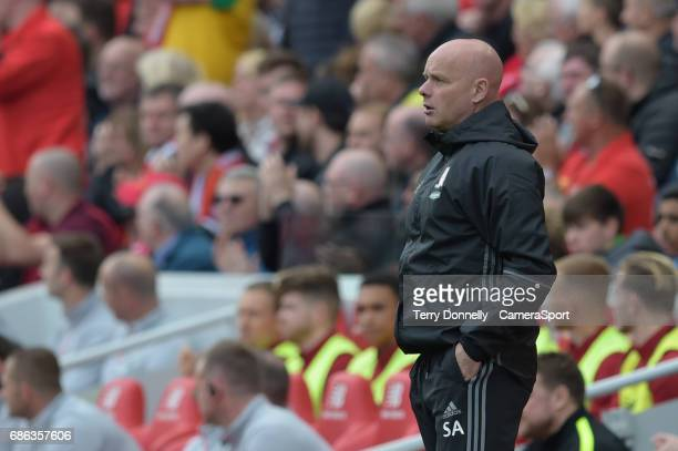 Middlesbrough manager Steve Agnew during the Premier League match between Liverpool and Middlesbrough at Anfield on May 21 2017 in Liverpool England