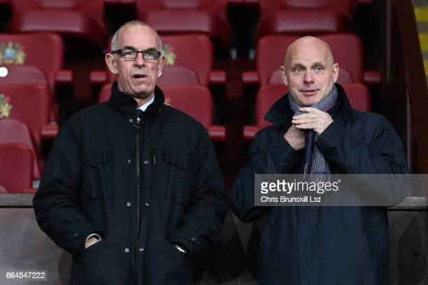 Middlesbrough manager Steve Agnew looks on next to his assistant Joe Jordan during the Premier League match between Burnley and Stoke City at Turf...