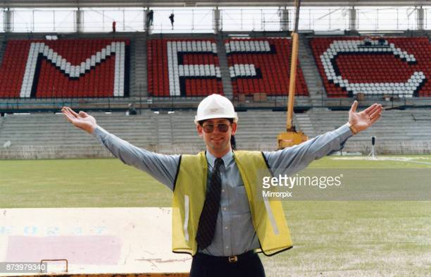 Middlesbrough new Riverside Stadium under construction 6th June 1995 Middlesbrough FC have installed the letters MFC in the East Stand of the new...