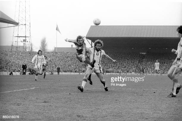Middlesbrough No4 John Mahoney and Leyton Orient player Tony Grealish fight for the ball during the FA Cup quarterfinal at Ayresome Park...