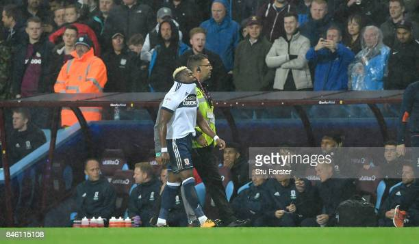 Middlesbrough player Adama Traore leaves the field after being sent off during the Sky Bet Championship match between Aston Villa and Middlesbrough...
