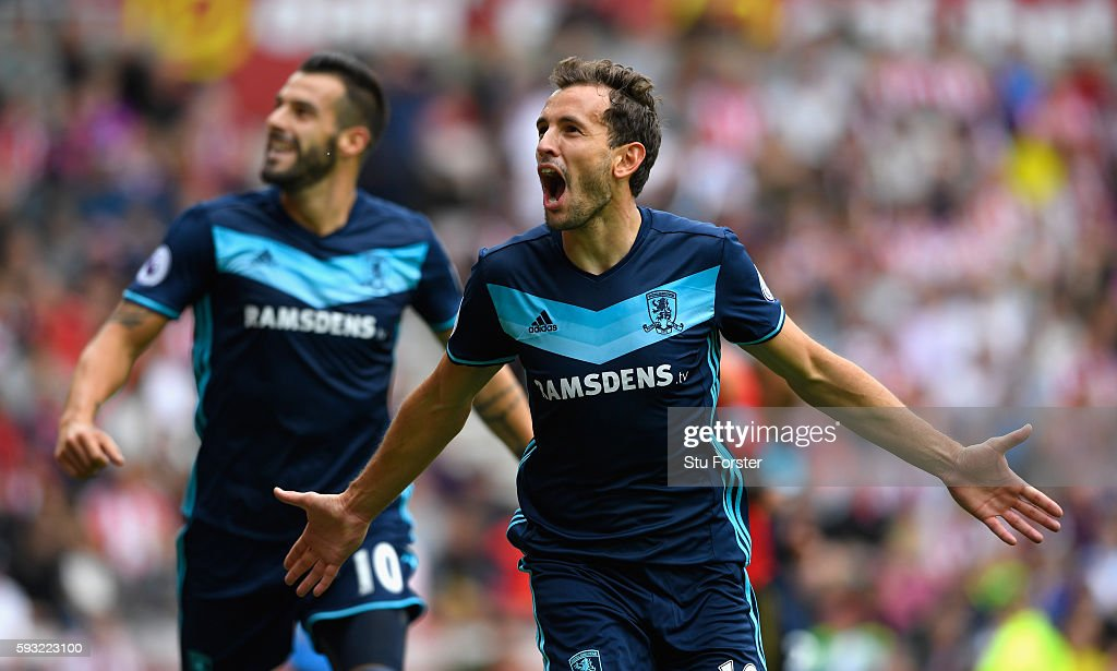 Middlesbrough player Christian Stuani celebrates after scoring the opening goal during the Premier League match between Sunderland and Middlesbrough at Stadium of Light on August 21, 2016 in Sunderland, England.