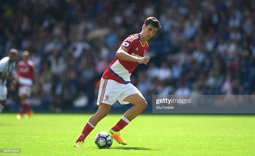 Middlesbrough player Daniel Ayala in action during the Premier League match between West Bromwich Albion and Middlesbrough at The Hawthorns on August 28, 2016 in West Bromwich, England.