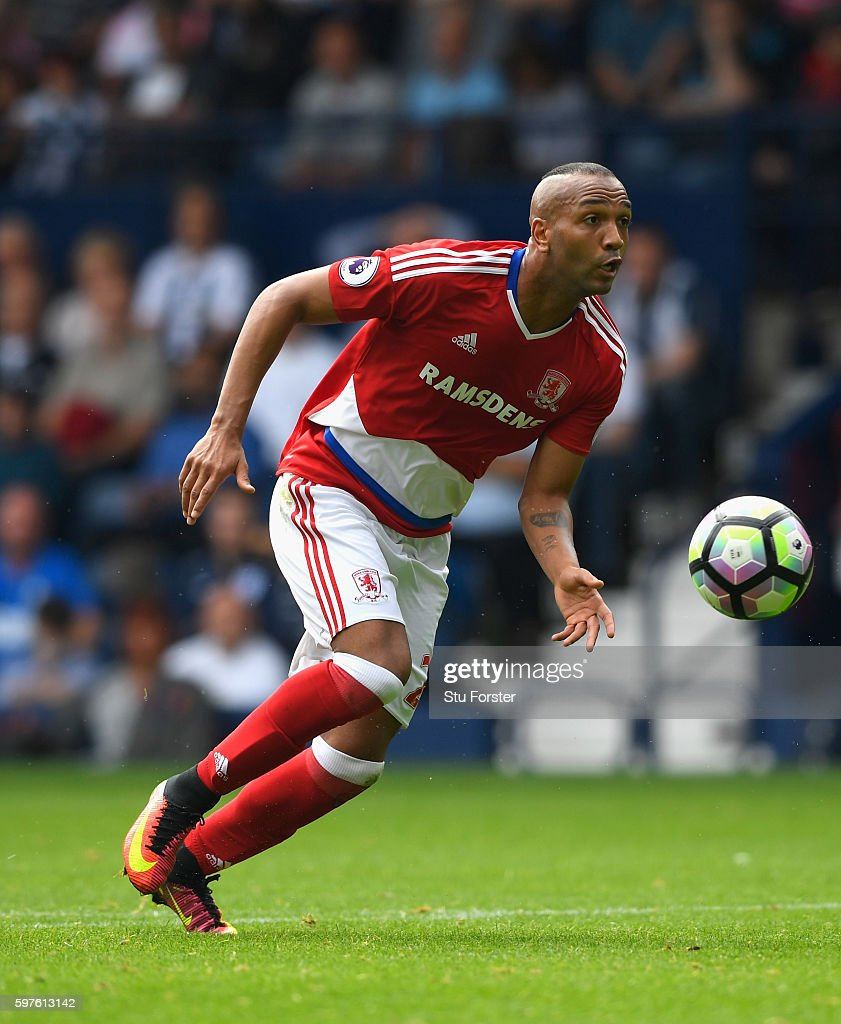 Middlesbrough player Emilio Nsue in action during the Premier League match between West Bromwich Albion and Middlesbrough at The Hawthorns on August 28, 2016 in West Bromwich, England.