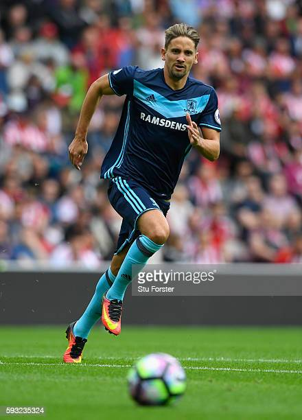 Middlesbrough player Gaston Ramirez in action during the Premier League match between Sunderland and Middlesbrough at Stadium of Light on August 21...