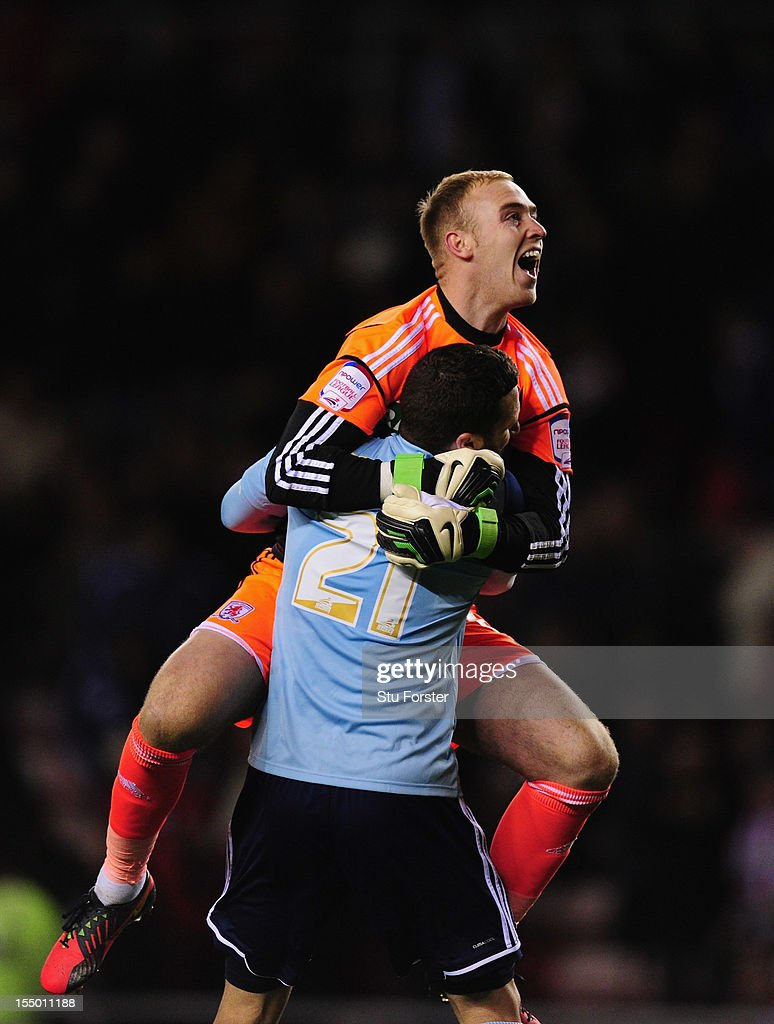 Middlesbrough player Stuart Parnaby (front) celebrates with keeper Jason Steele after the Capital One Cup Fourth Round match between Sunderland and Middlesbrough at Stadium of Light on October 30, 2012 in Sunderland, England.