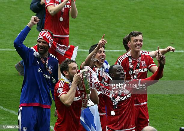 Middlesbrough players celebrate promotion after the Sky Bet Championship match between Middlesbrough and Brighton and Hove Albion at the Riverside...