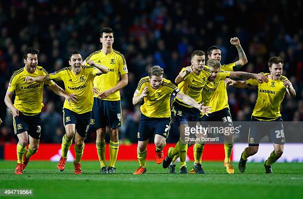 Middlesbrough players celebrate victory after the penalty shoot out during the Capital One Cup Fourth Round match between Manchester United and...