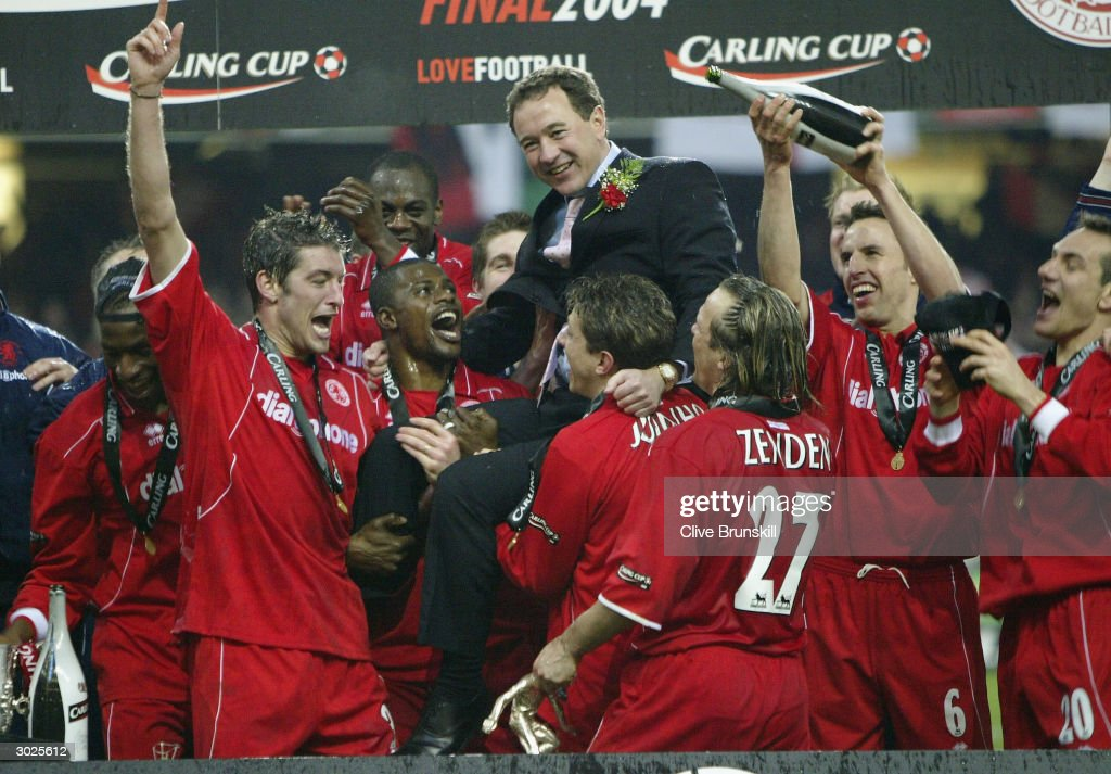 Middlesbrough players celebrate with Chairman Steve Gibson after their victory over Bolton Wanderers in the Carling Cup Final match between Bolton...