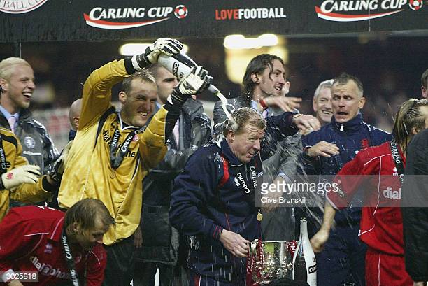 Middlesbrough players celebrate with manager Steve McClaren after their victory over Bolton Wanderers in the Carling Cup Final match between Bolton...