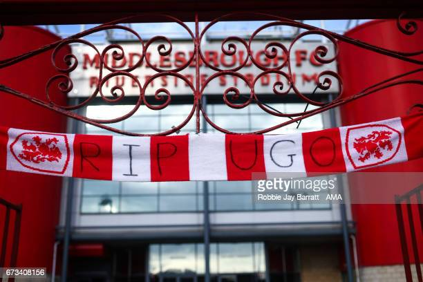 Middlesbrough scarf outside Riverside home stadium of Middlesbrough reads RIP Ugo paying respect to the late Ugo Ehigou during the Premier League...