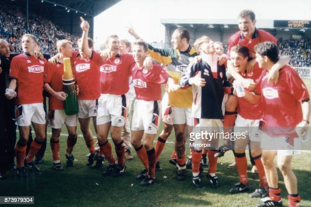 Middlesbrough seal promotion following a one all draw at Tranmere The players are seen here celebrating on the pitch 7th May 1995