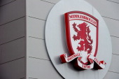 Middlesbrough sign is seen outside the Riverside Stadium home of Middlesbrough Football Club on March 4 2011 in Middlesbrough England