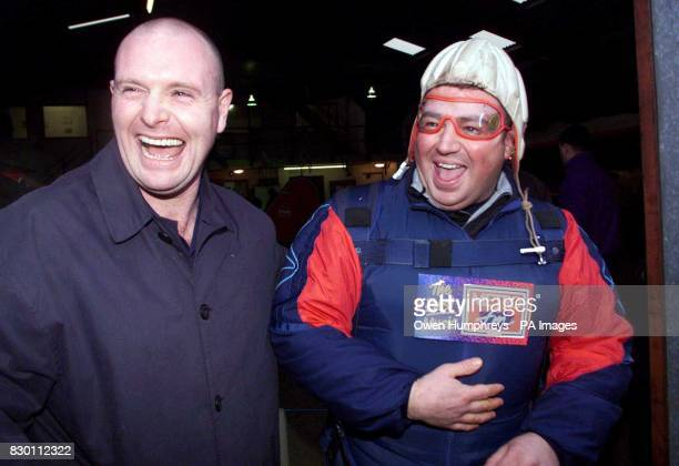 Middlesbrough soccer star Paul Gasgoigne gives his pal Jimmy Five Bellies his best wishes as he prepares for a parachute jump at Shotten Airfield...