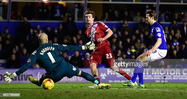 Middlesbrough striker Patrick Bamford scores the equaliser during the Sky Bet Championship match between Birmingham City and Middlesbrough at St...