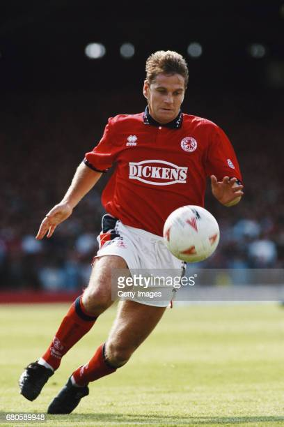 Middlesbrough winger John Hendrie in action during a League Divsion One match against Burnley at Ayresome park on August 13 1994 in Middlesbrough...