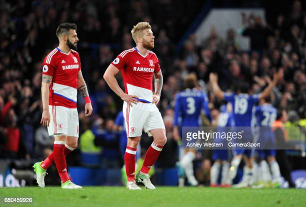 Middlesbrough's Adam Clayton and Alvaro Negredo dejected as Chelsea's Nemanja Matic scores his sides fourth goal during the Premier League match...