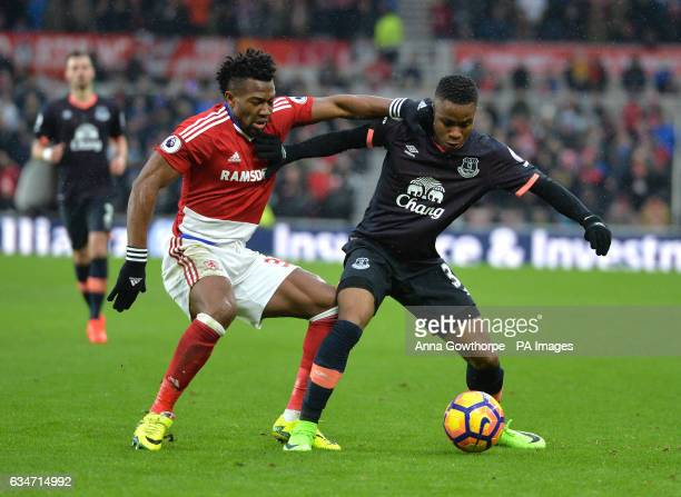 Middlesbrough's Adam Traore and Everton's Ademola Lookman in action during the Premier League match at the Riverside Stadium Middlesbrough