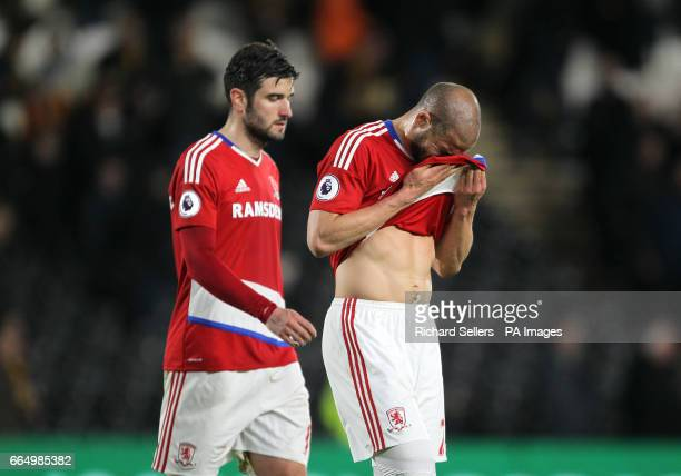 Middlesbrough's Adlene Guedioura react after the Premier League match at the KCOM Stadium Hull