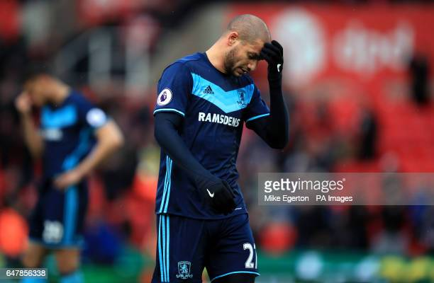 Middlesbrough's Adlene Guedioura reacts after the Premier League match at the bet365 Stadium Stoke
