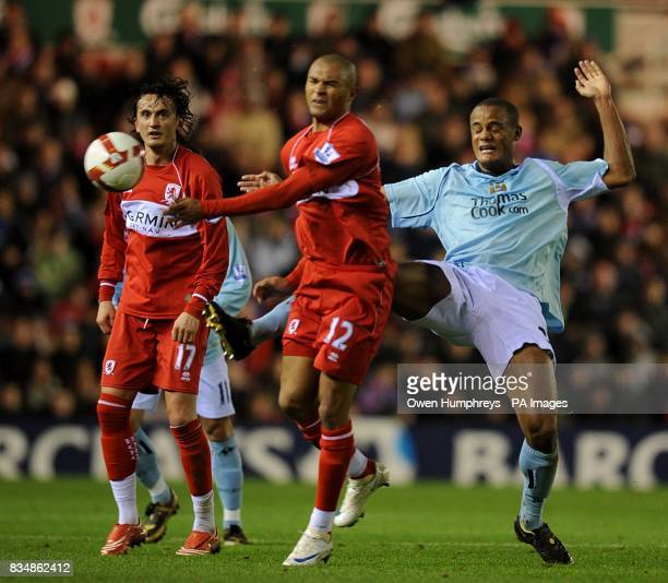 Middlesbrough's Afonso Alves and Manchester City's Vincent Kompany battle for the ball