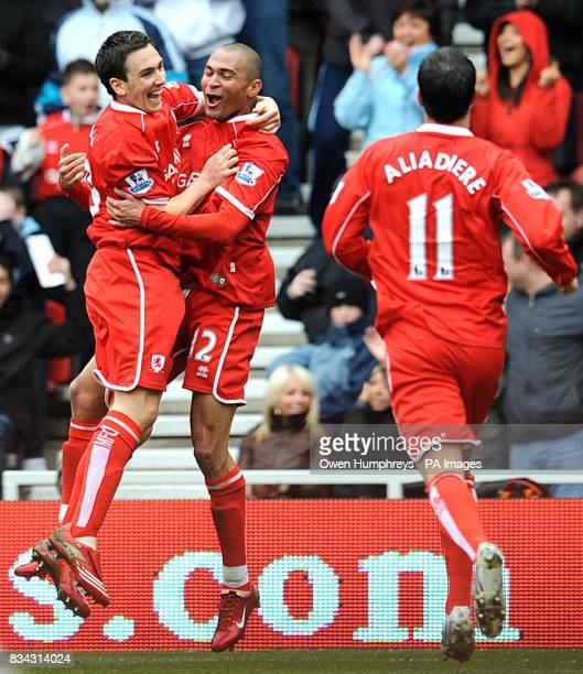 Middlesbrough's Afonso Alves celebrates after scoring the second goal of the match with team mates