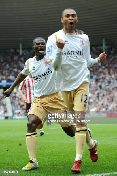 Middlesbrough's Afonso Alves celebrates scoring his sides second goal of the game with teammate George Boateng