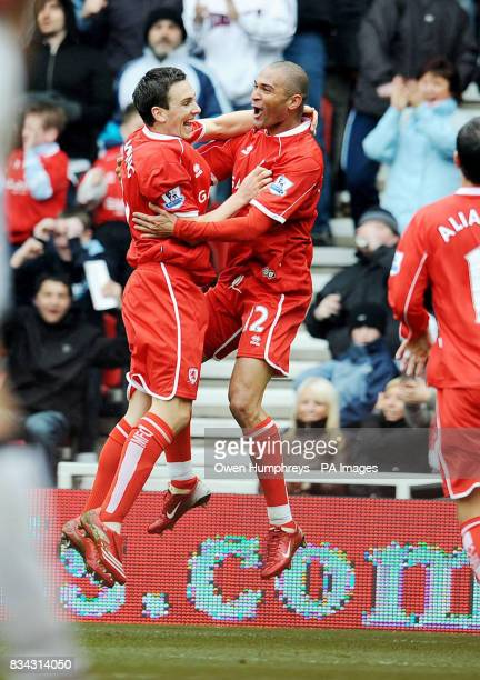 Middlesbrough's Afonso Alves celebrates scoring with Stewart Downing during the Barclays Premier League match at the Riverside Middlesbrough
