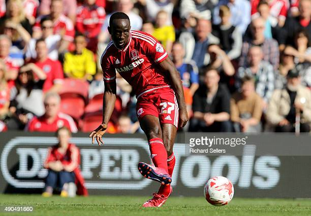 Middlesbrough's Albert Adomah in action during the Sky Bet Championship match between Middlesbrough and Leeds United at the Riverside on September 27...