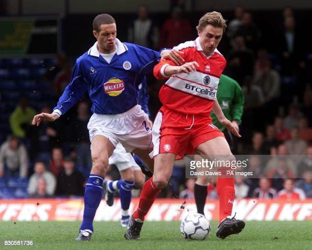 LEAGUE Middlesbrough's Alen Boksic is challenged for the ball by Leicester City's Damien Delaney during the FA Carling Premiership game at Filbert...