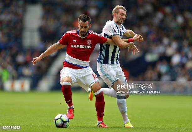 Middlesbrough's Alvaro Negredo and West Bromwich Albion's Gareth McAuley battle for the ball