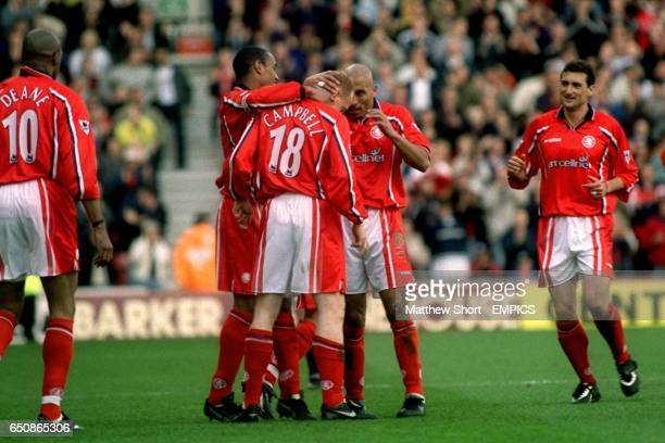 Middlesbrough's Andy Campbell celebrates with teammates Paul Ince Curtis Fleming and Gianluca Festa after scoring the first goal
