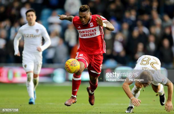 Middlesbrough's Britt Assombalonga and Leeds United's Gaetano Berardi during the Sky Bet Championship match at Elland Road Leeds