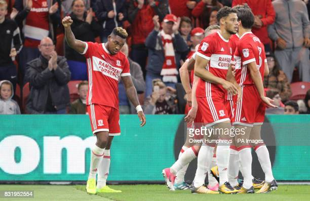Middlesbrough's Britt Assombalonga celebrates scoring his side's second goal of the game during the Sky Bet Championship match at the Riverside...
