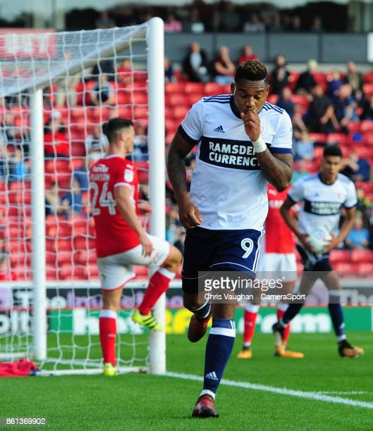 Middlesbrough's Britt Assombalonga celebrates scoring his sides second goal during the Sky Bet Championship match between Barnsley and Middlesbrough...