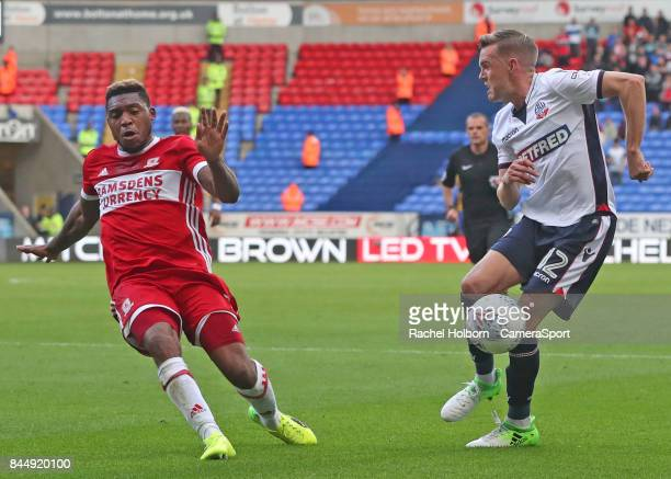 Middlesbrough's Britt Assombalonga during the Sky Bet Championship match between Bolton Wanderers and Middlesbrough at Macron Stadium on September 9...