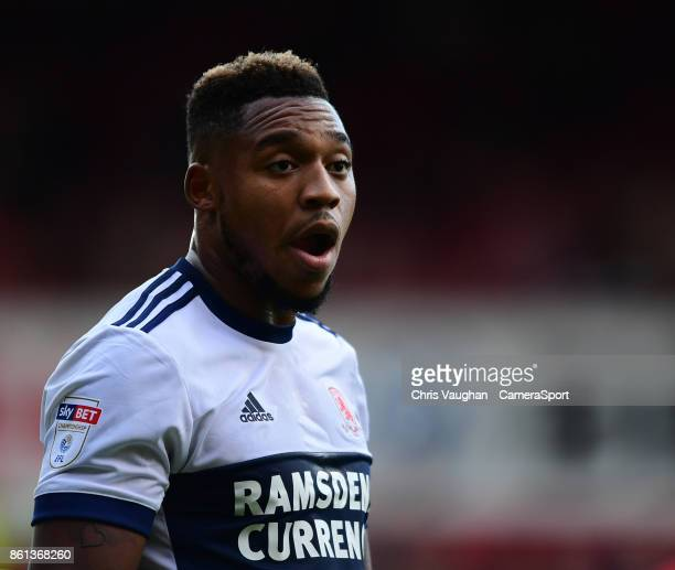 Middlesbrough's Britt Assombalonga during the Sky Bet Championship match between Barnsley and Middlesbrough at Oakwell Stadium on October 14 2017 in...