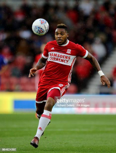 Middlesbrough's Britt Assombalonga in action during the Sky Bet Championship match at the Riverside Stadium Middlesbrough