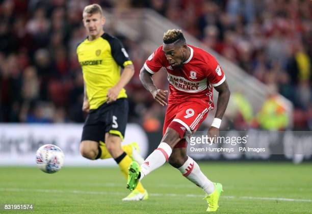 Middlesbrough's Britt Assombalonga misses a chance at goal during the Sky Bet Championship match at the Riverside Stadium Middlesbrough
