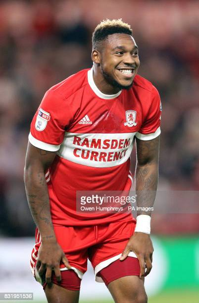 Middlesbrough's Britt Assombalonga reacts after a missed chance at goal during the Sky Bet Championship match at the Riverside Stadium Middlesbrough
