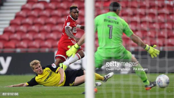 Middlesbrough's Britt Assombalonga scores his side's first goal of the game during the Sky Bet Championship match at the Riverside Stadium...
