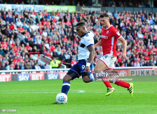 Middlesbrough's Britt Assombalonga scores his sides second goal during the Sky Bet Championship match between Barnsley and Middlesbrough at Oakwell...
