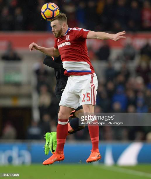 Middlesbrough's Calum Chambers beats Everton's Ademola Lookman to head the ball during the Premier League match at the Riverside Stadium Middlesbrough